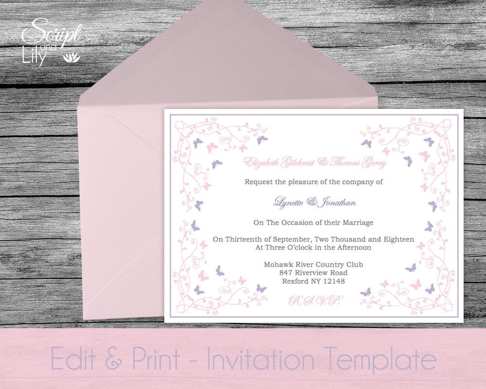 Downloadable Butterfly Invitation Template
