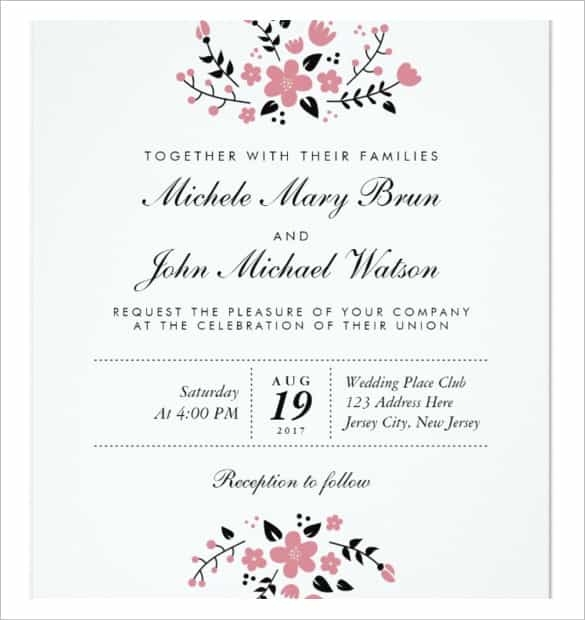 Free Downloadable Wedding Invitation Templates For Word Monza