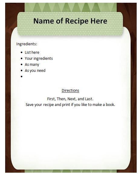 Downloadable Recipe Template