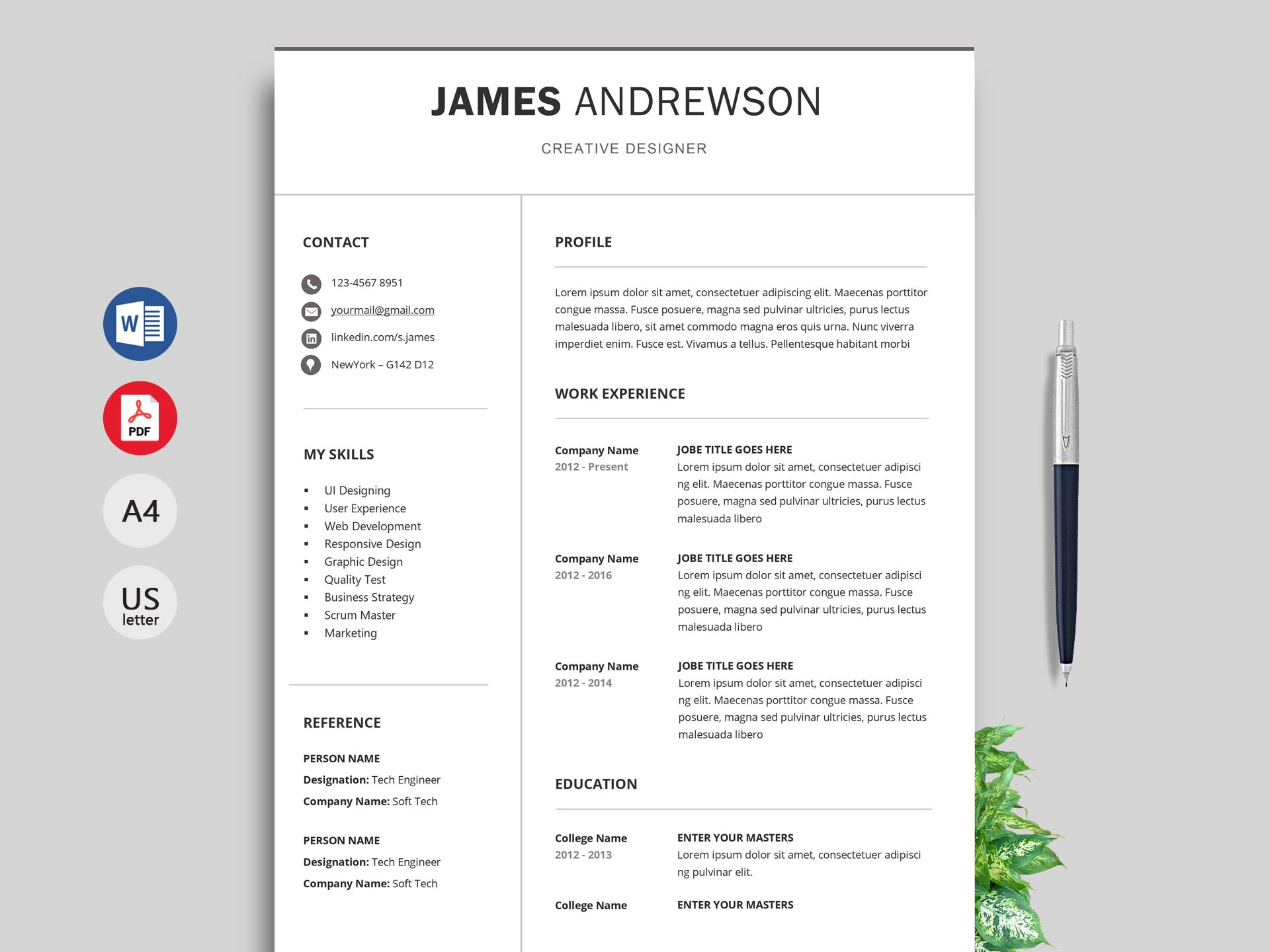Downloadable Resume Template 2019