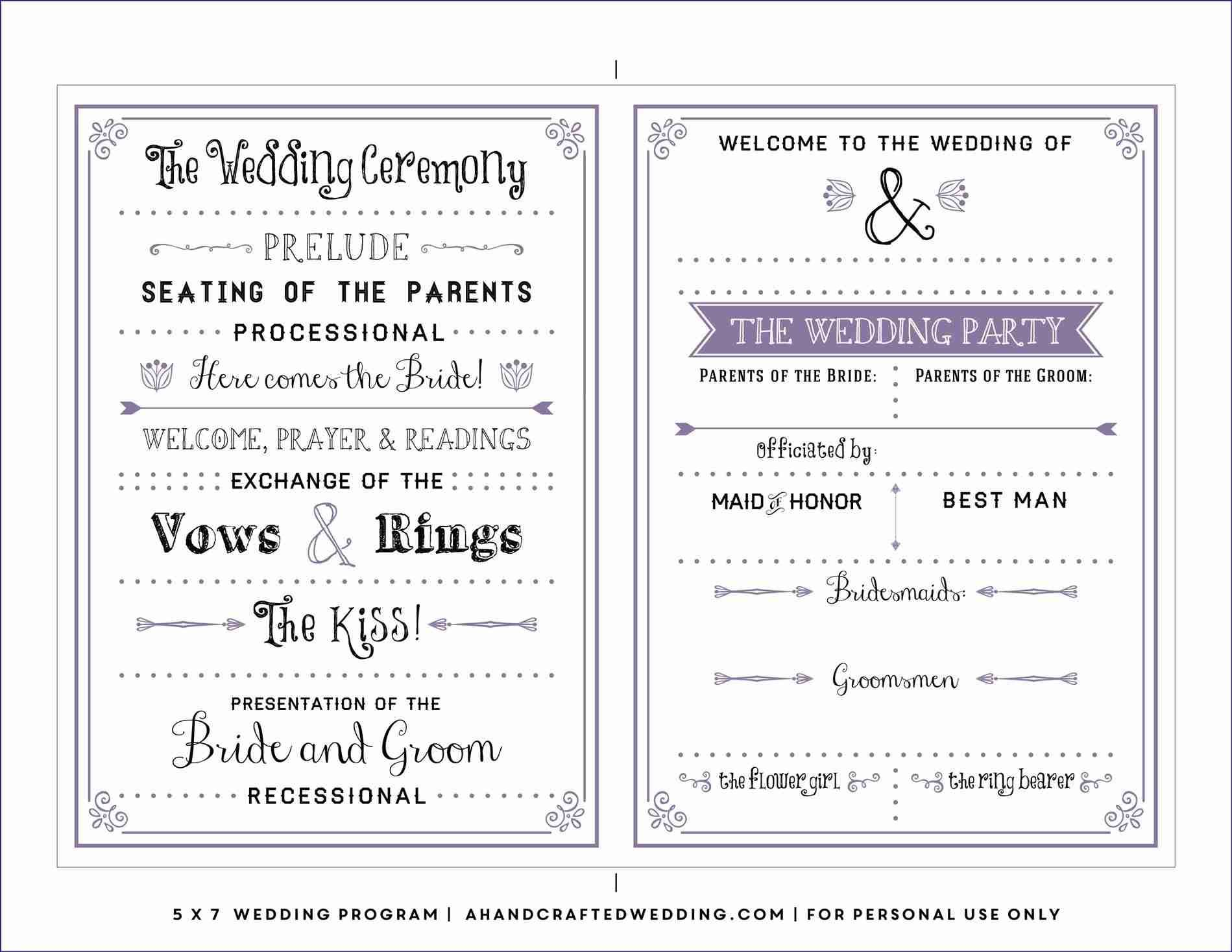 Downloadable Wedding Program Templates Free