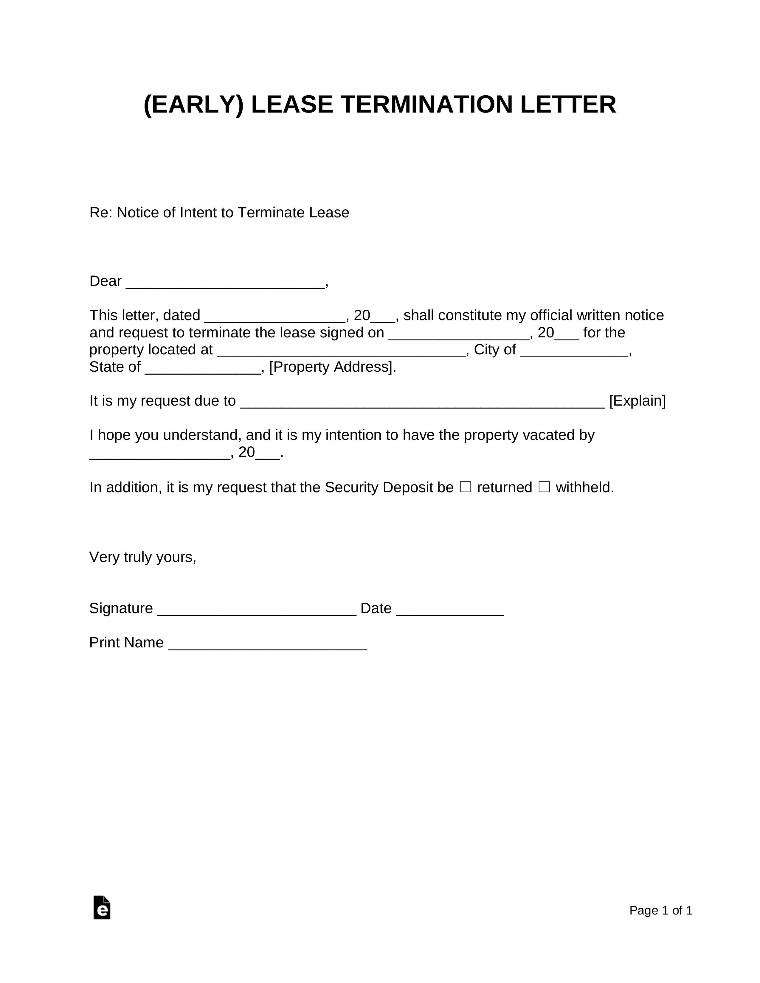 Early Lease Termination Template