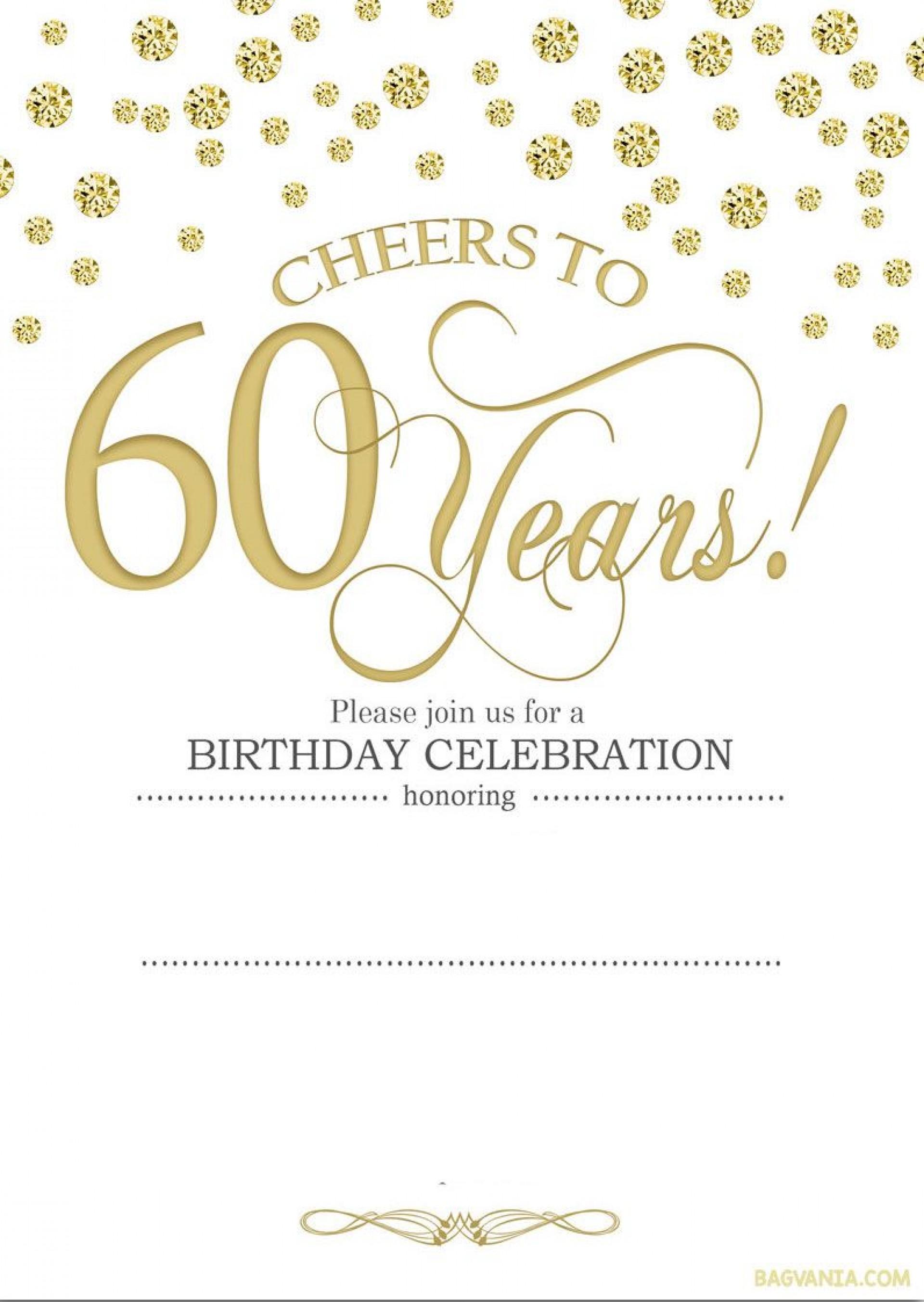 Editable 60th Birthday Invitation Templates