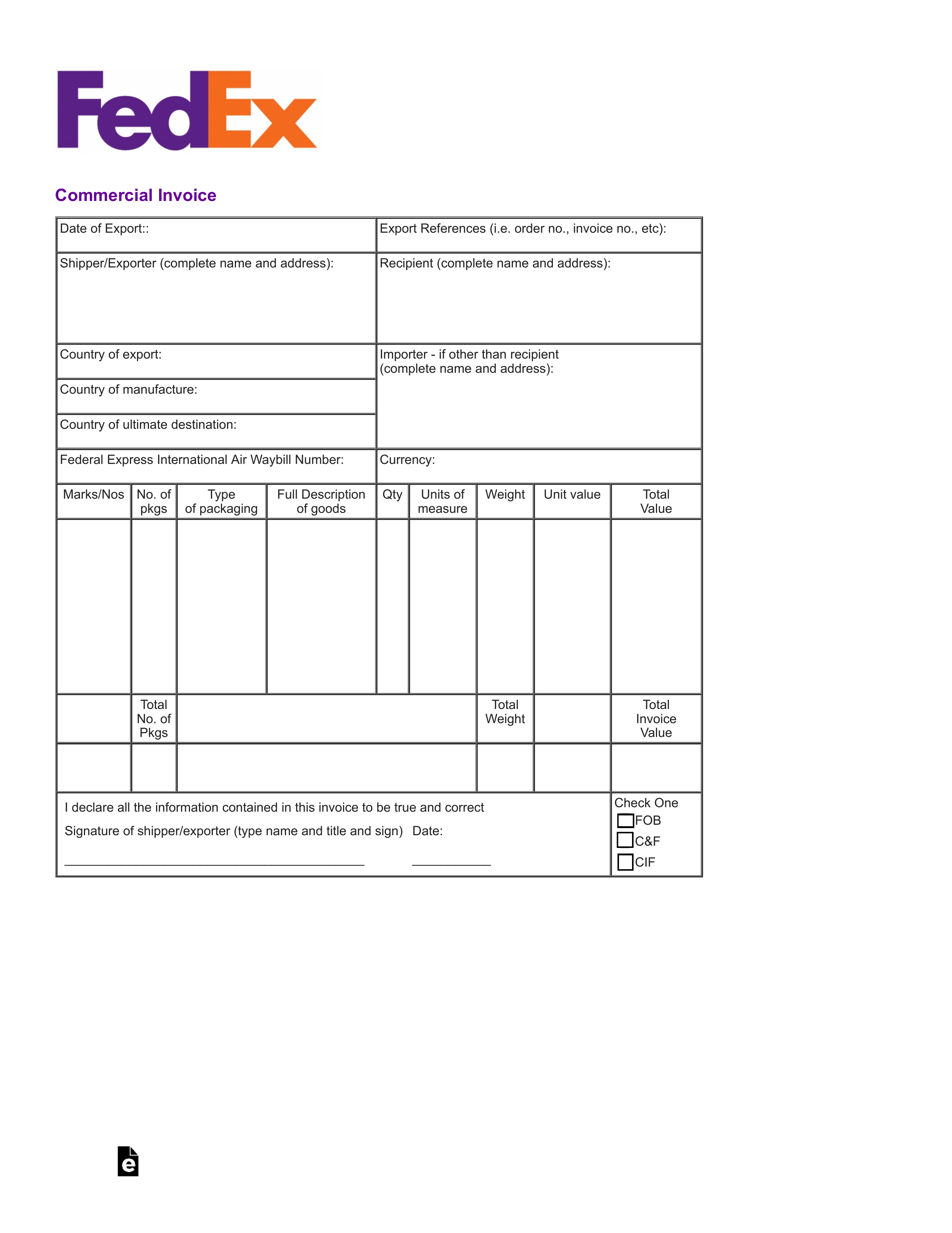 Editable Customs Invoice Template