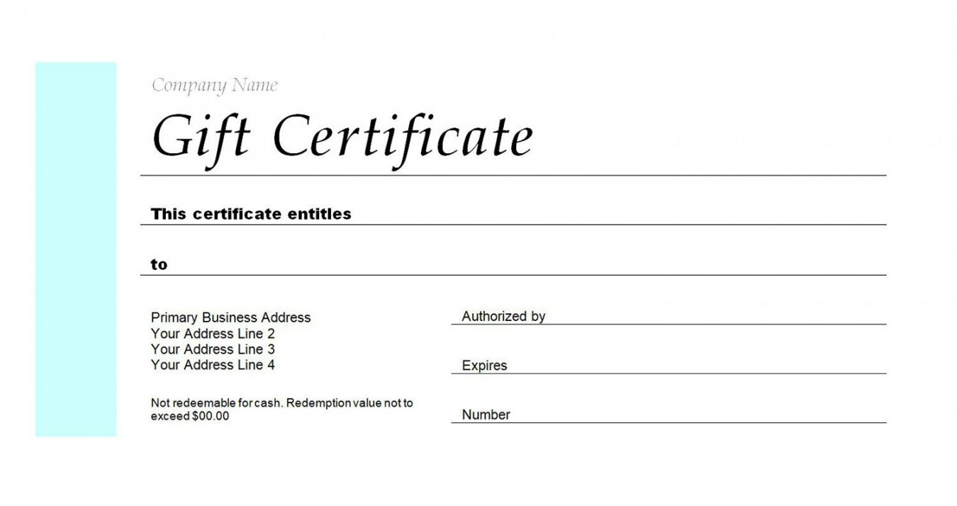 Editable Fillable Gift Certificate Template Free