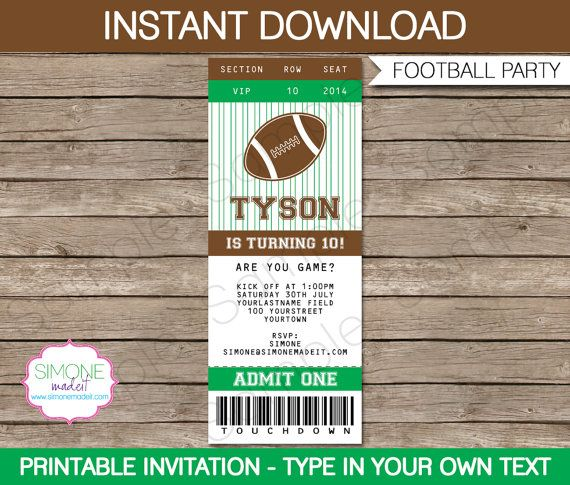 Editable Football Ticket Template