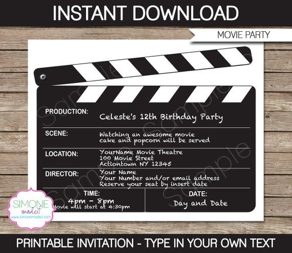 Editable Movie Invitation Template