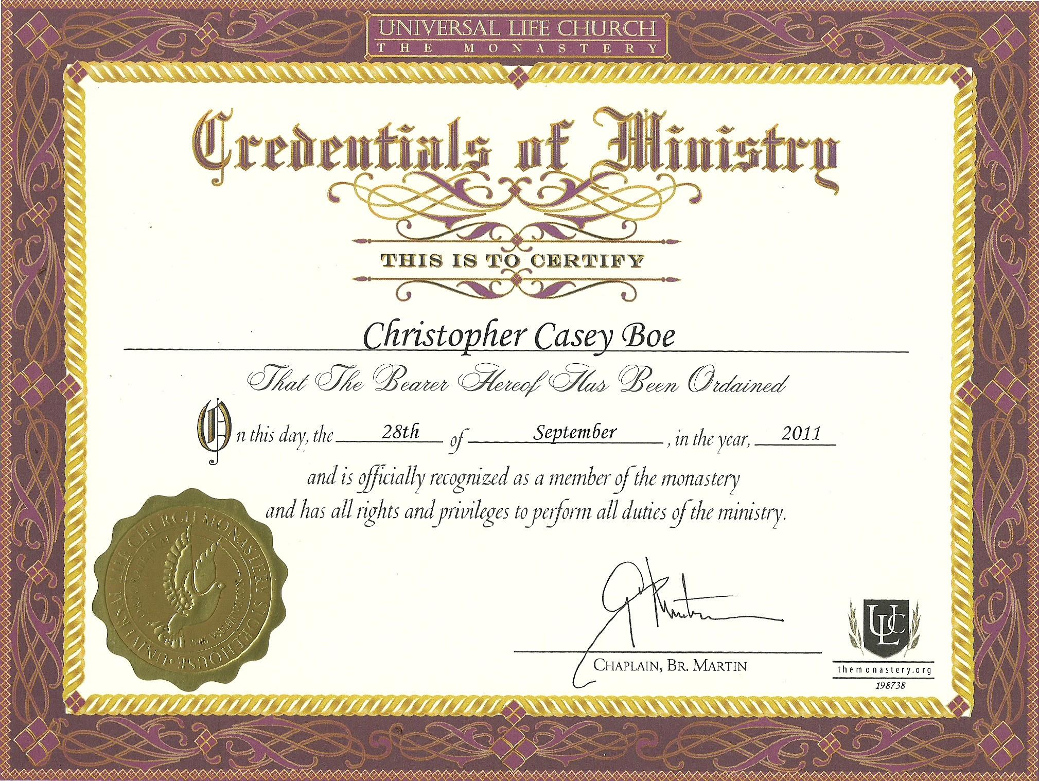 Editable Ordination Certificate Template
