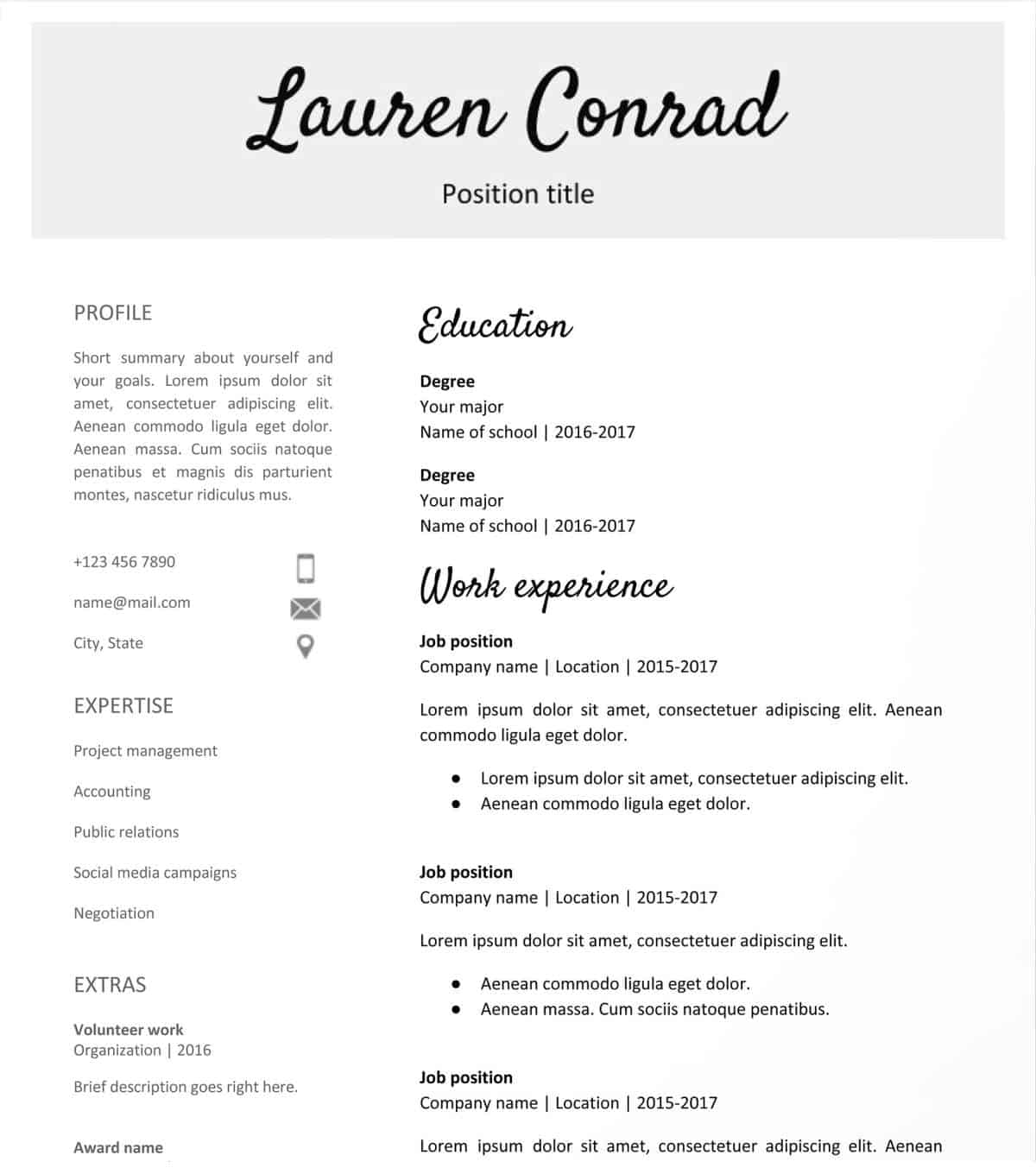 Editable Resume Templates Google Docs