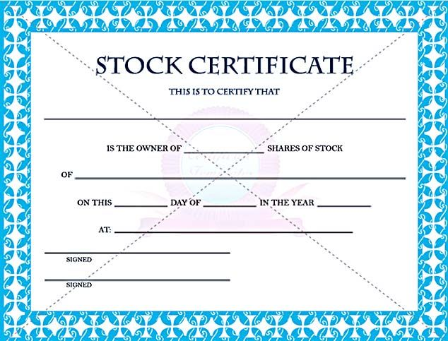 Editable Stock Certificate Template