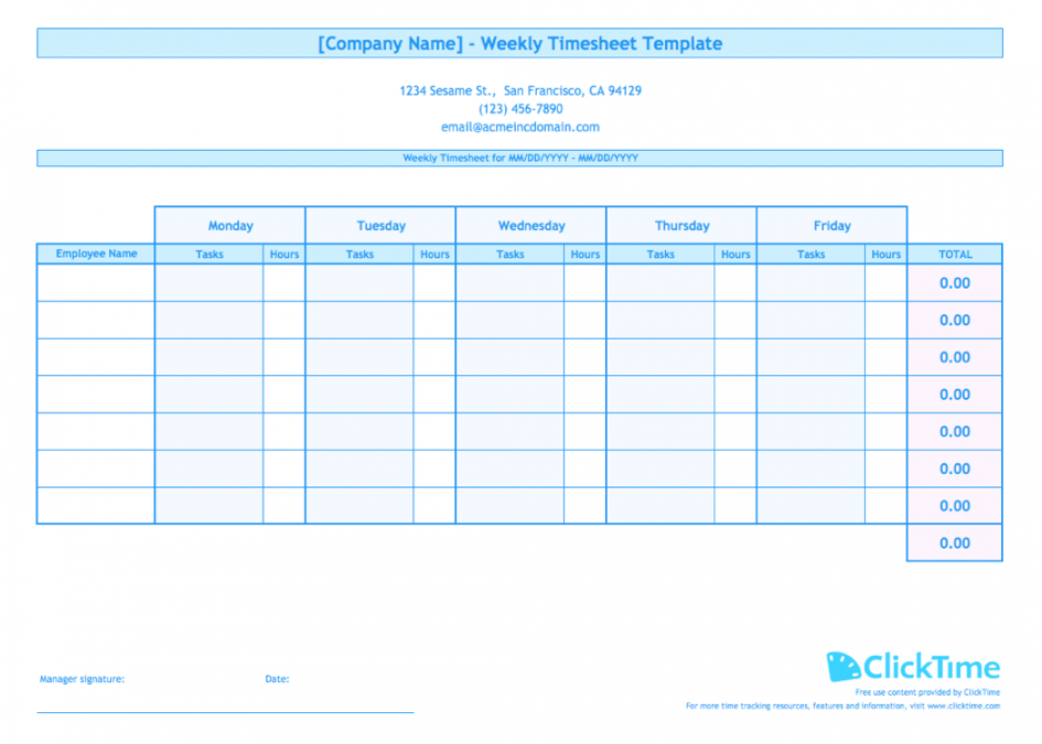 Editable Weekly Timesheet Template For Multiple Employees Clicktime Employee Hour Tracking Template Excel