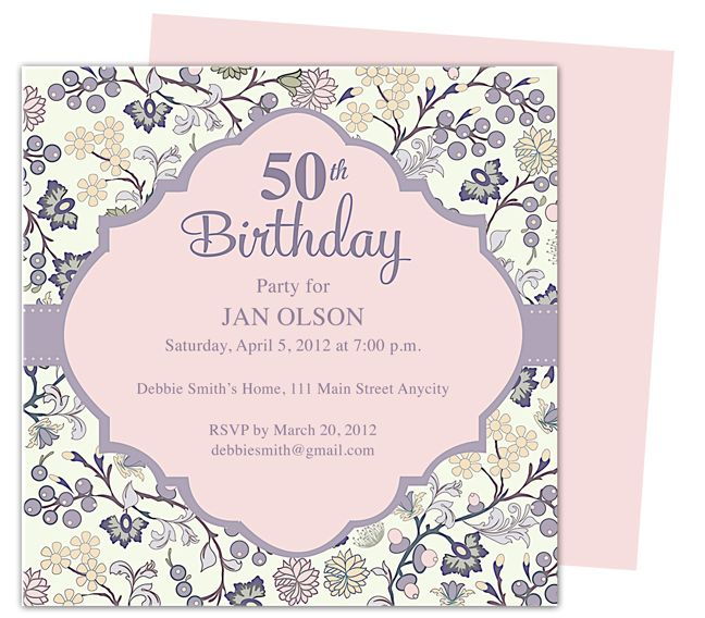 Elegant 50th Birthday Invitations Templates