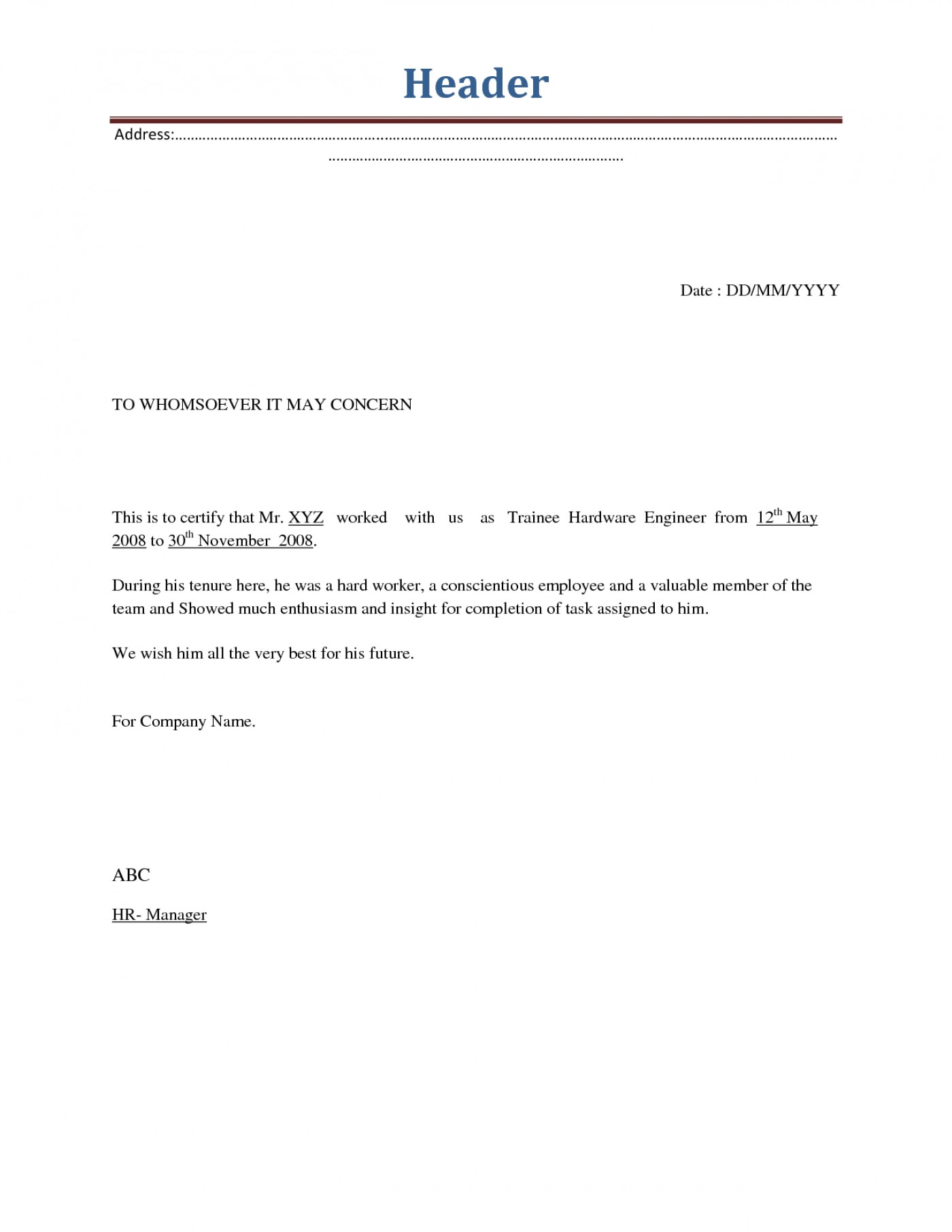 Employee Employment Termination Letter Template