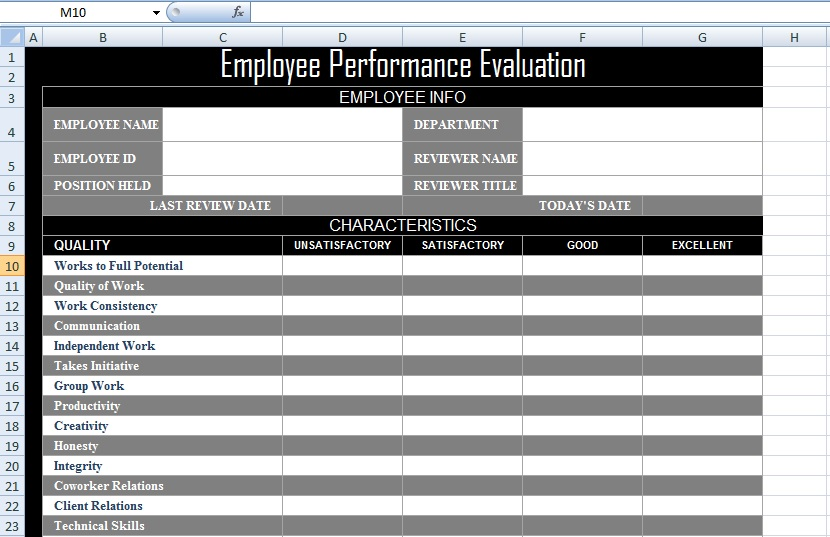 Employee Evaluation Templates Excel