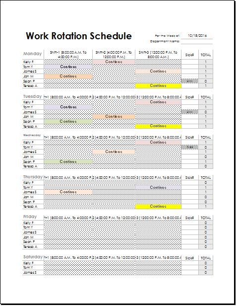 Employee Rotation Schedule Template