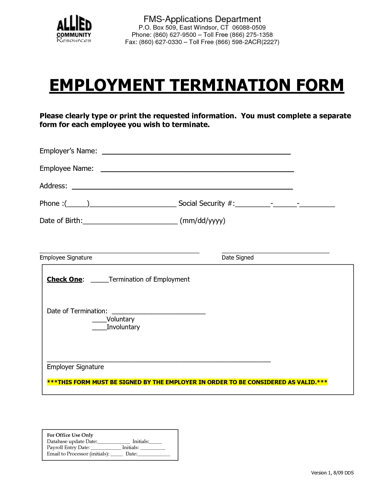 Employee Termination Template
