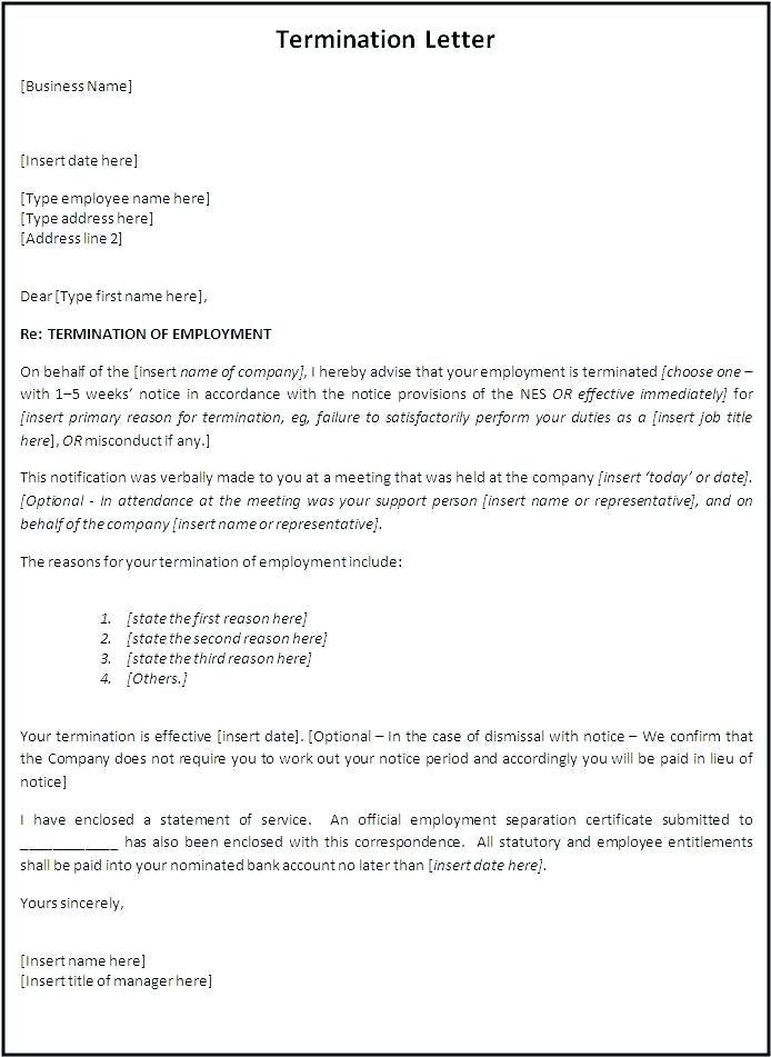 Employment Termination Letter Template Free