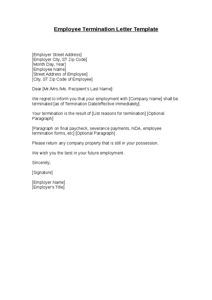 Employment Termination Letter Template Word