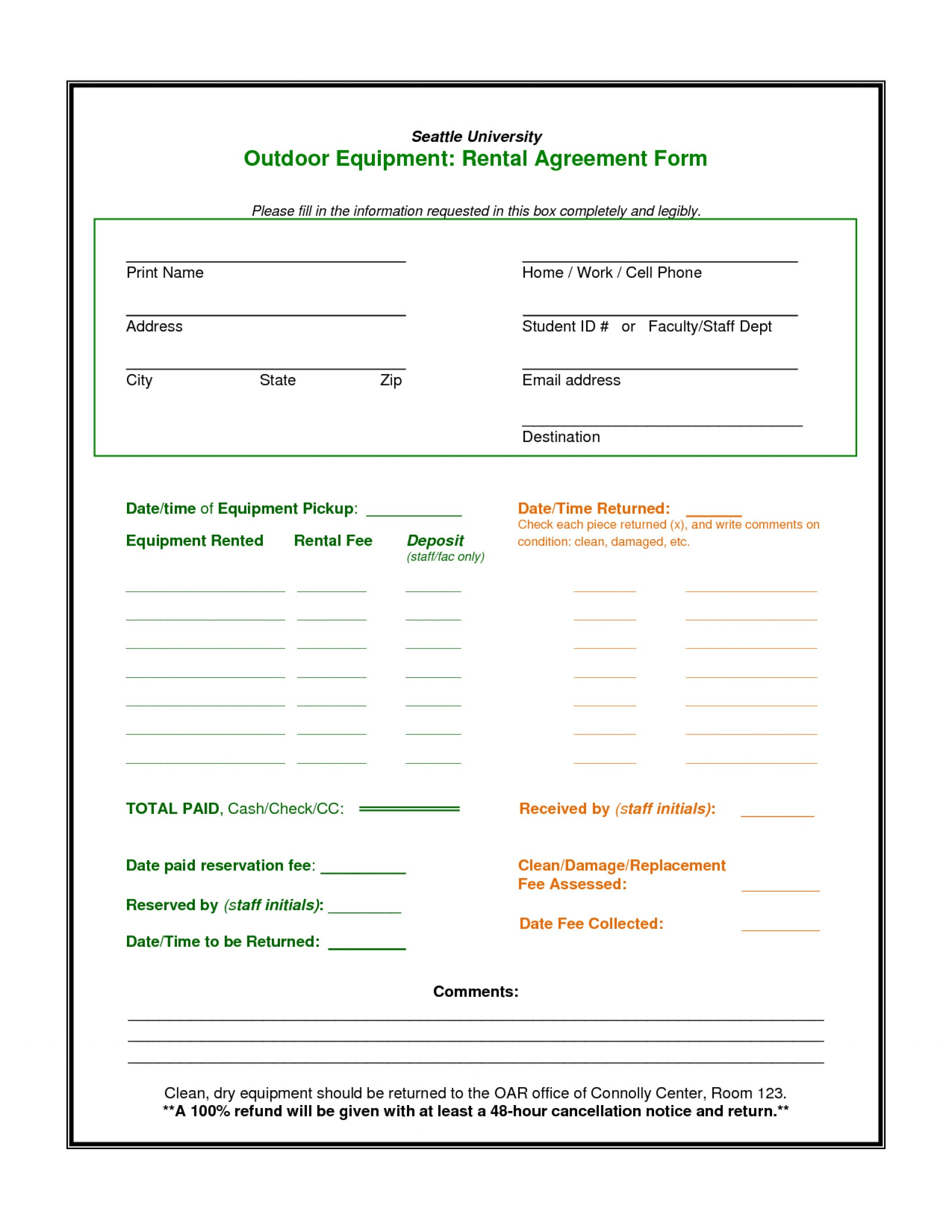 Equipment Rental Contract Template Free Download