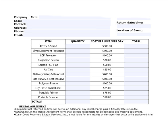 Equipment Rental Invoice Template