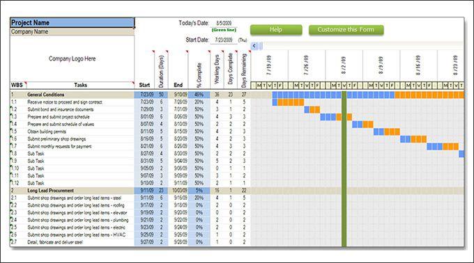 Excel Construction Schedule Template