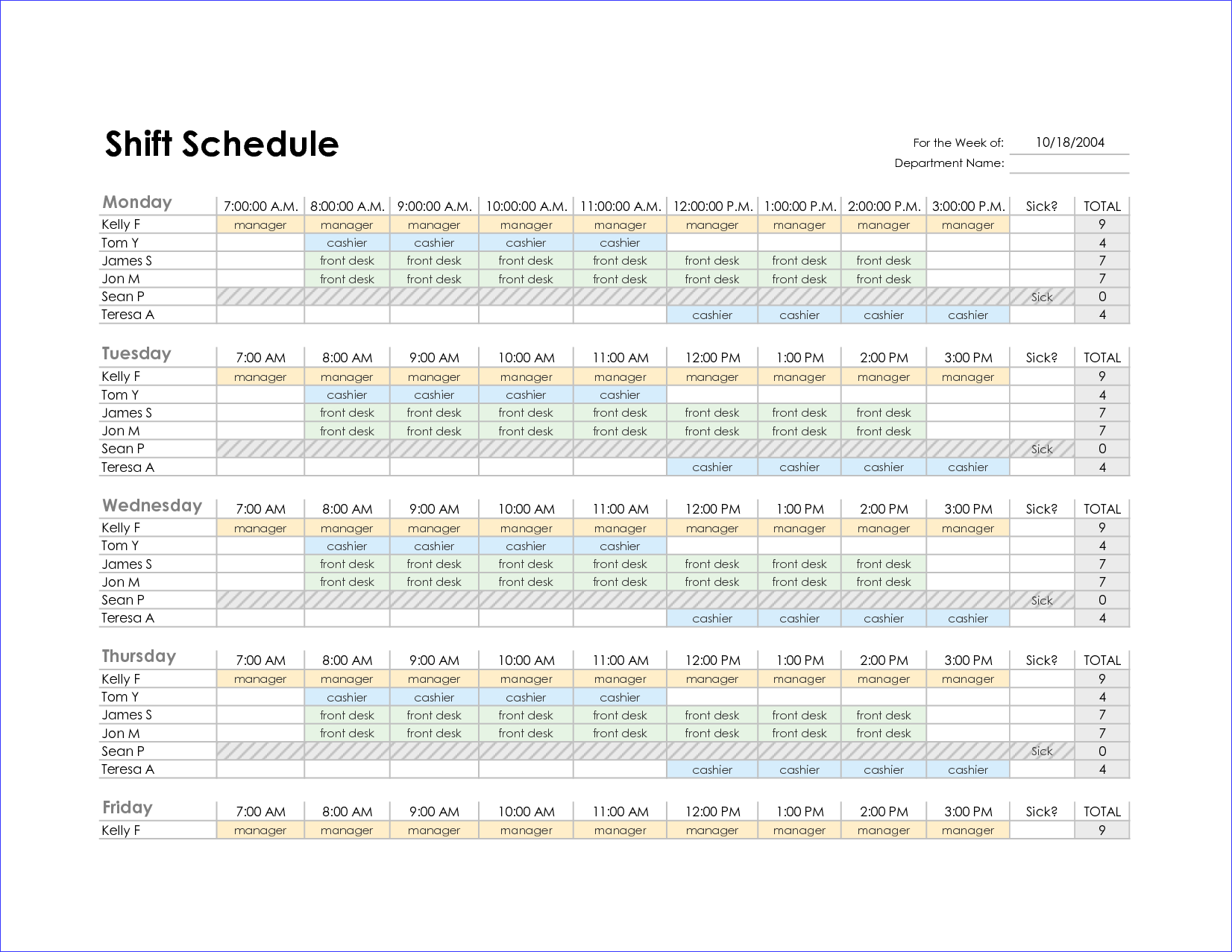 Excel Monthly Employee Schedule Template
