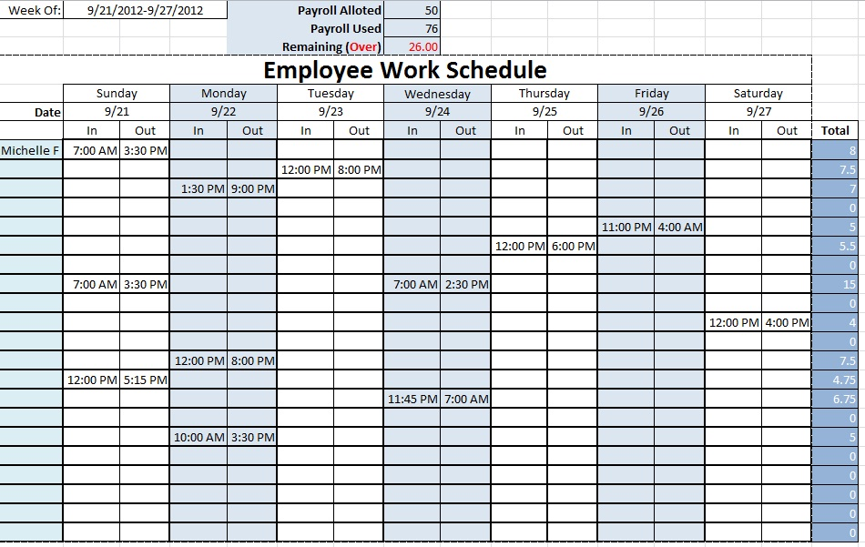 Excel Monthly Work Schedule Template