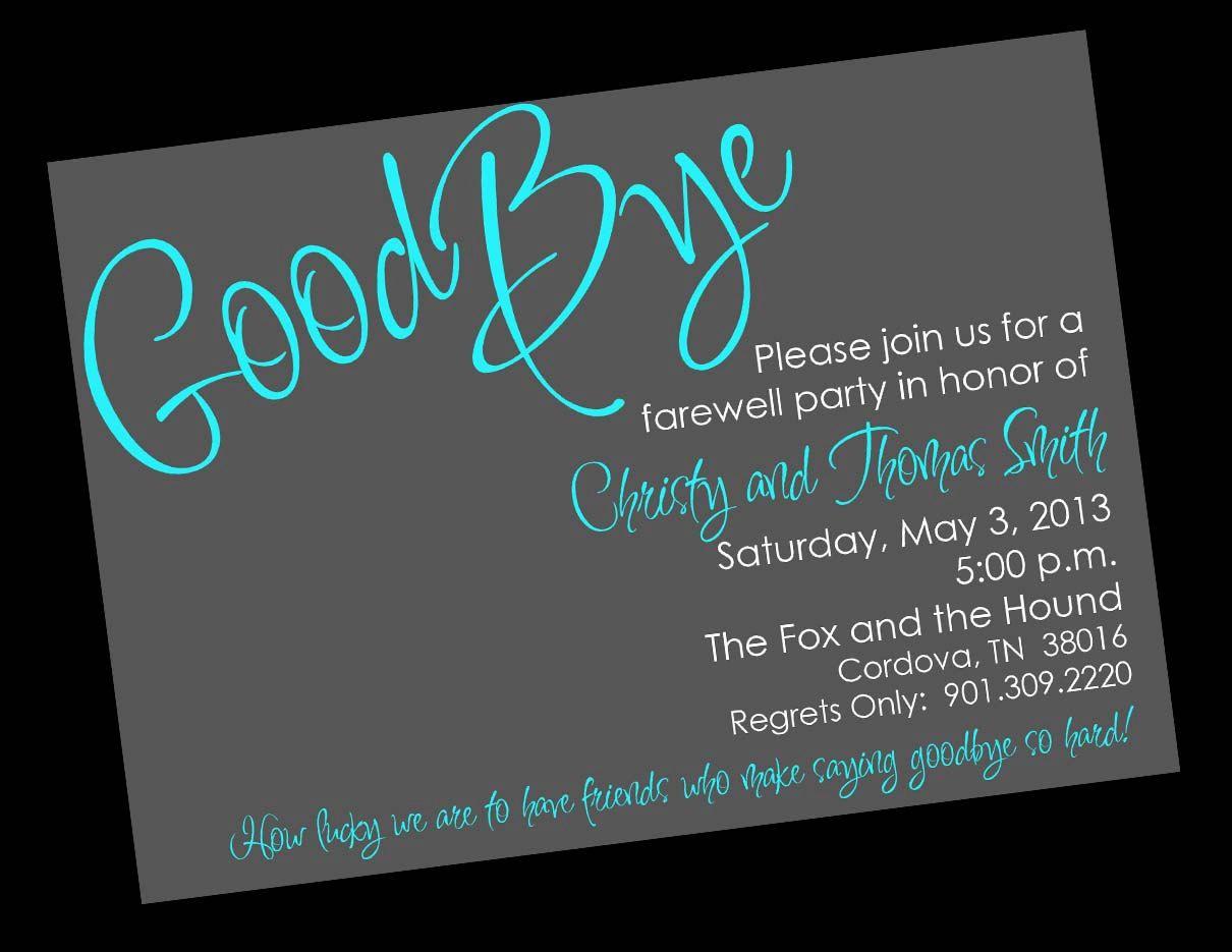 Farewell Invitation Card Template Free