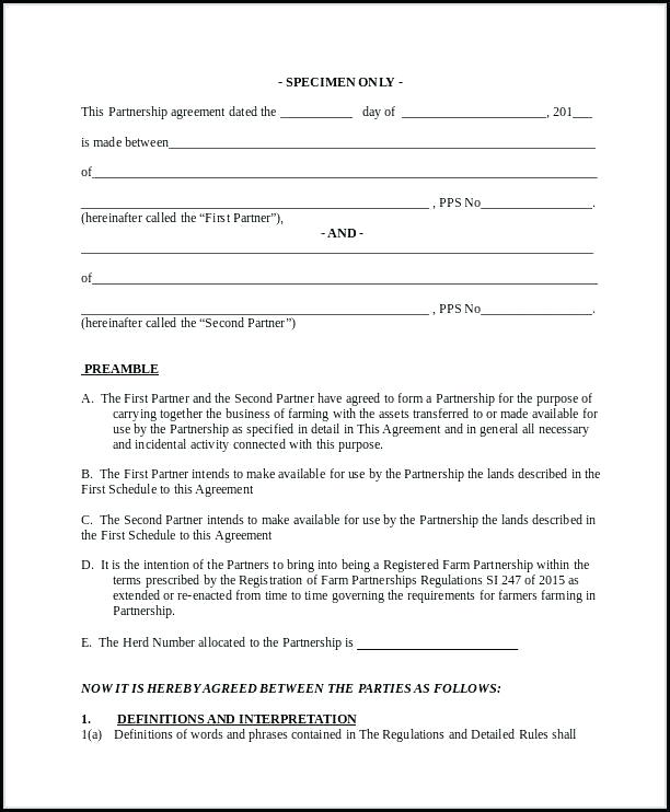 Farm Partnership Agreement Template