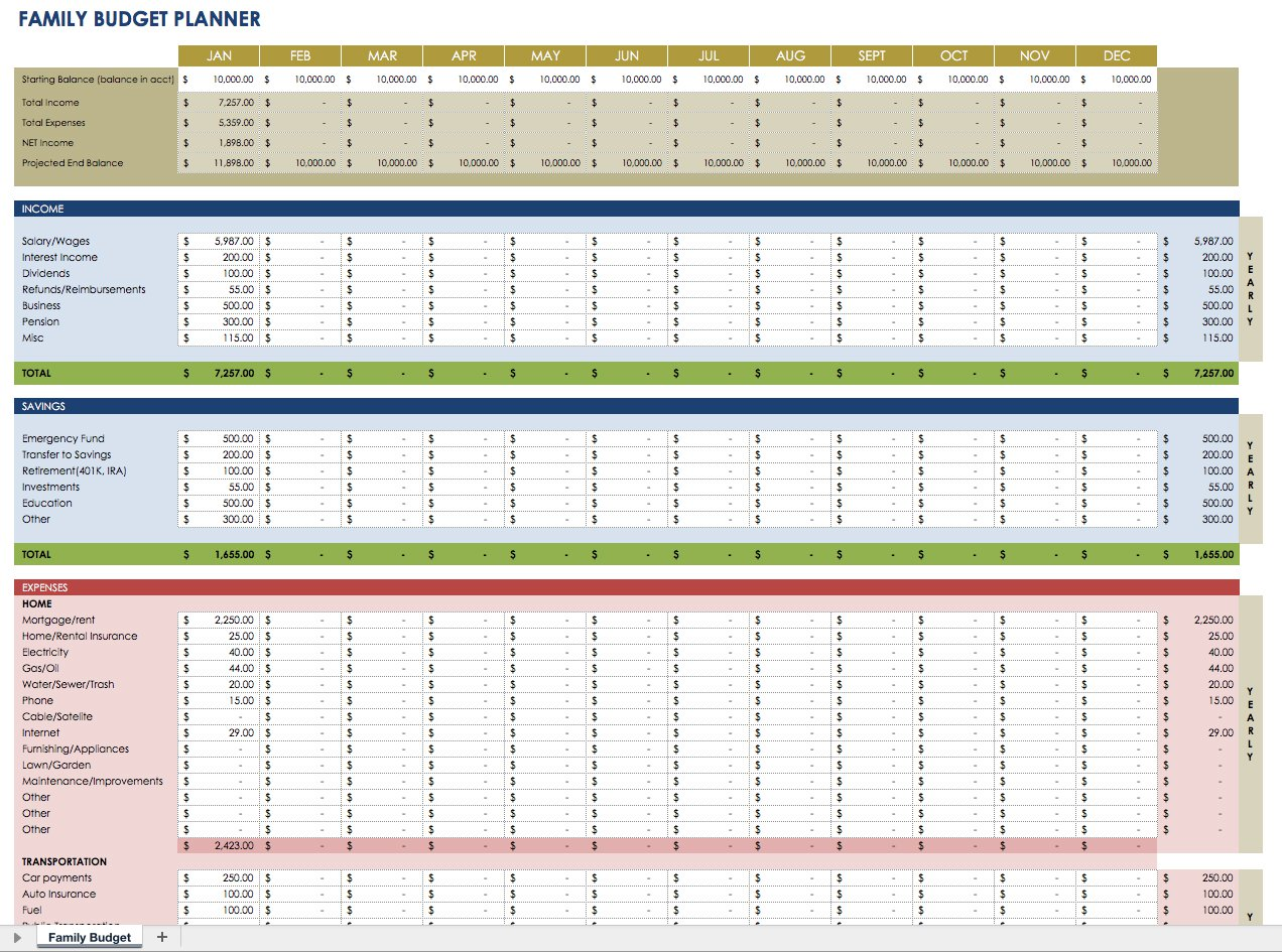 Financial Planning Spreadsheet Template