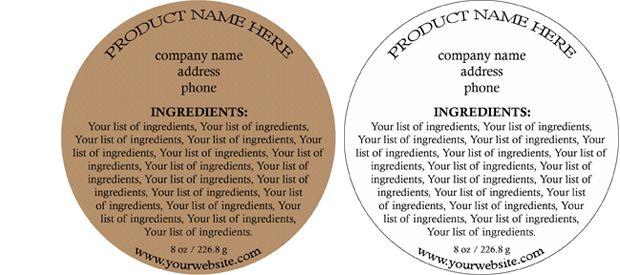 Food Ingredient Label Template
