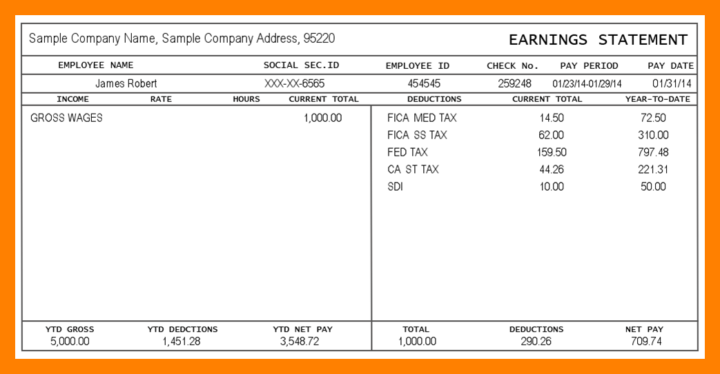 Free 1099 Pay Stub Template