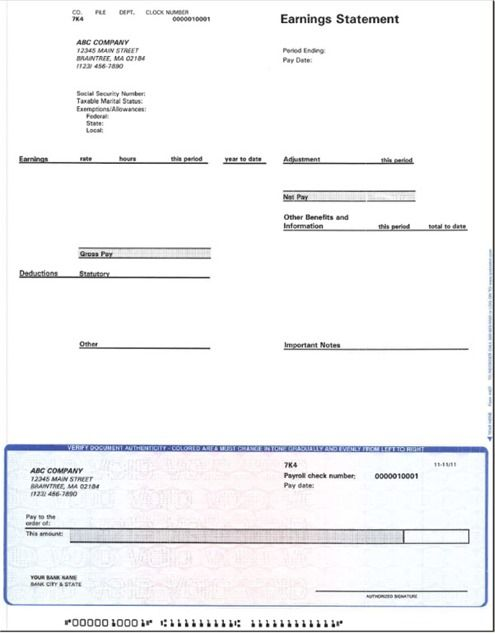 Free Blank Payroll Check Template