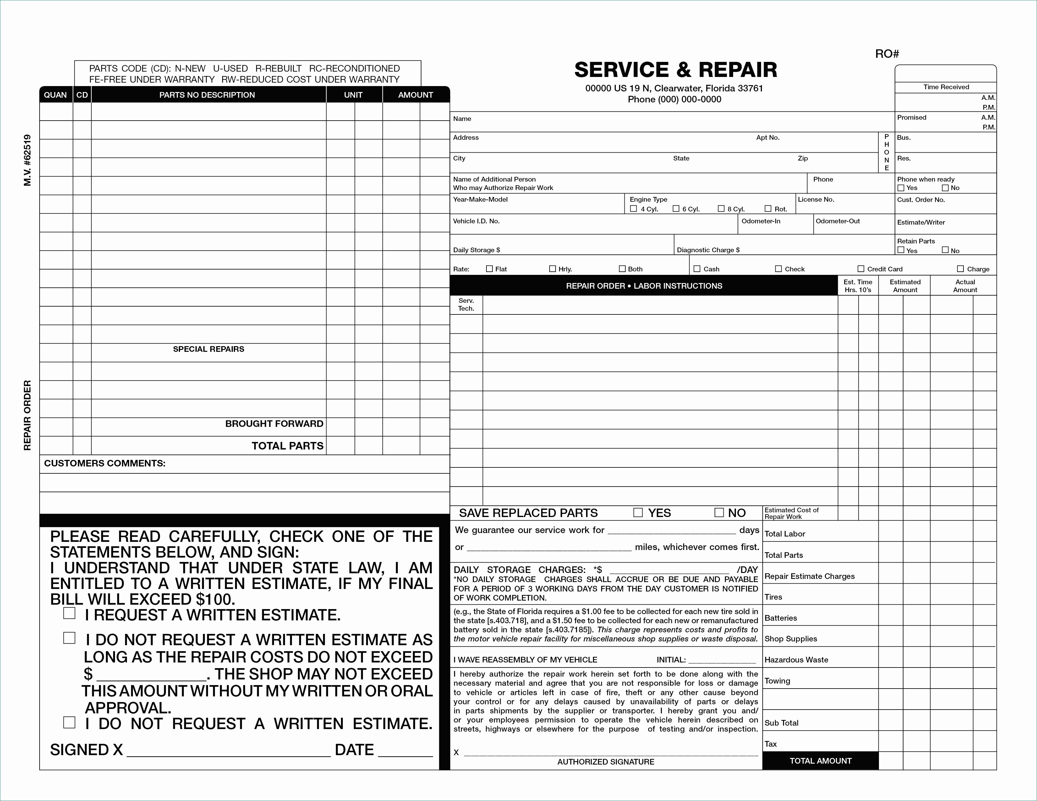 Body Shop Estimate Form Ordinary 50 Beautiful Free Invoice Template Blank Invoice Forms