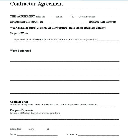 Free Contractor Contract Template
