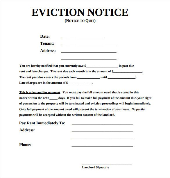 Free Eviction Notice Template Word