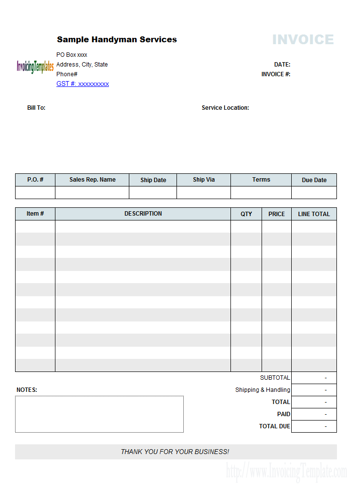 Free Invoice Template For Mac