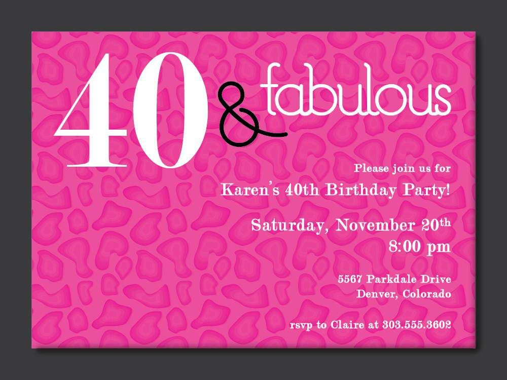 Free Printable Free 40th Birthday Invitations Templates