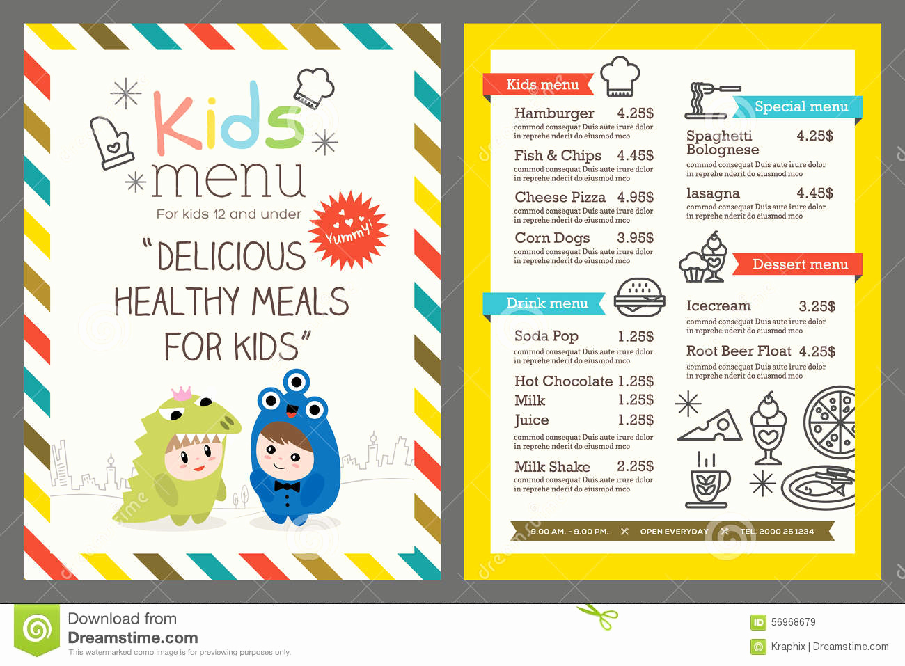 Free Printable Kids Menu Template And Kids Menu Vector Template Stock Vector Illustration Of
