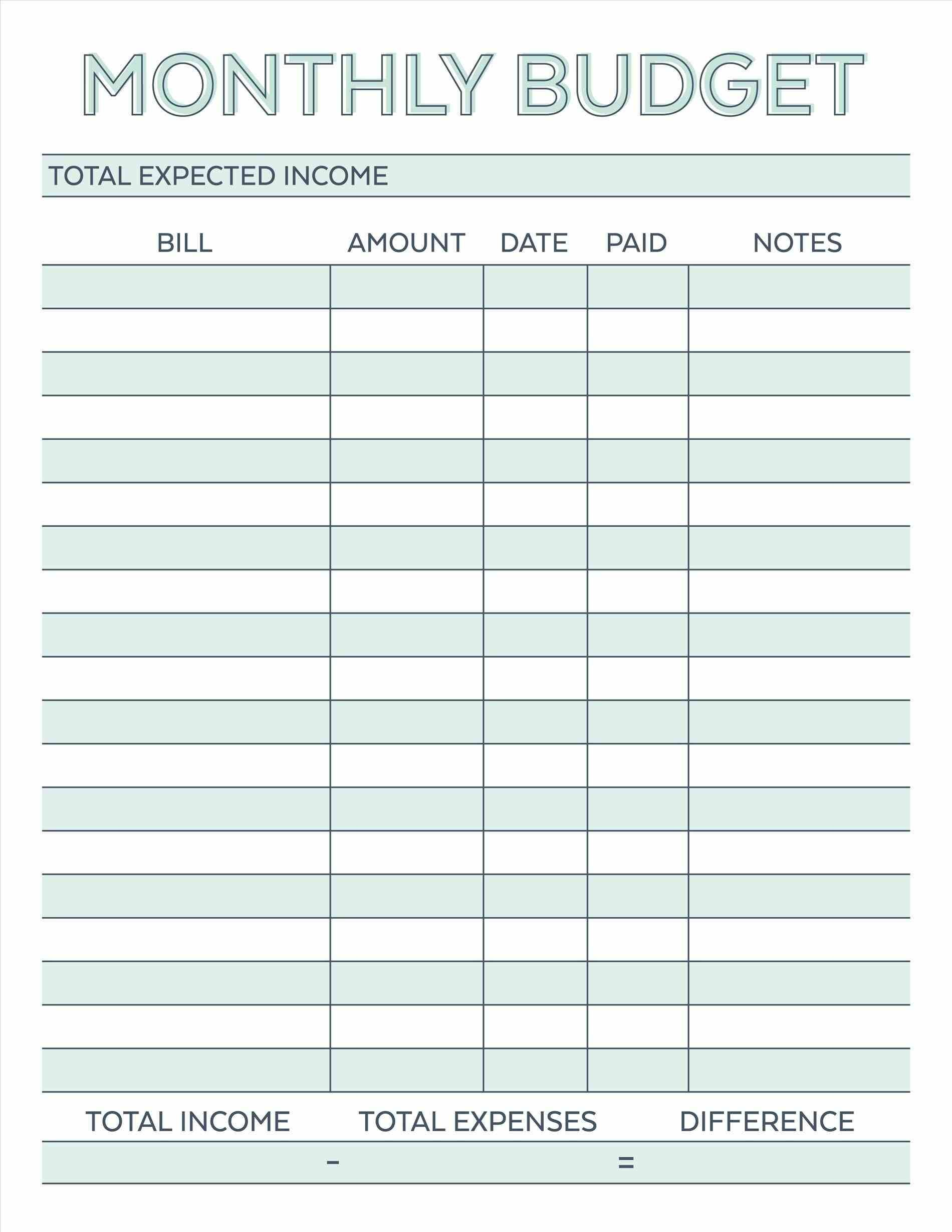 Free Printable Monthly Budget Planner Template