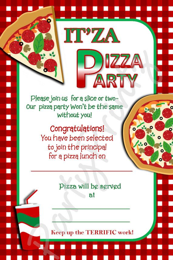 Free Printable Pizza Party Invitation Template
