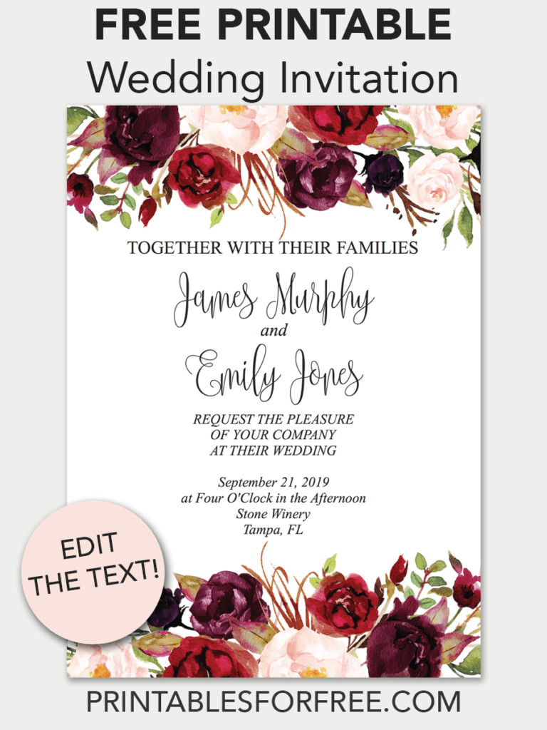Free Printable Wedding Invitations Templates Downloads