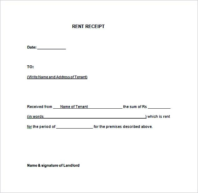 Free Rent Receipt Template Download