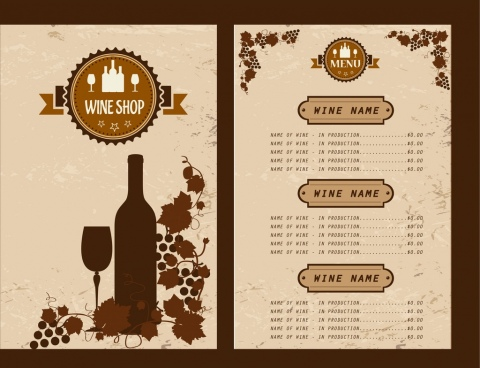 Free Wine Menu Template