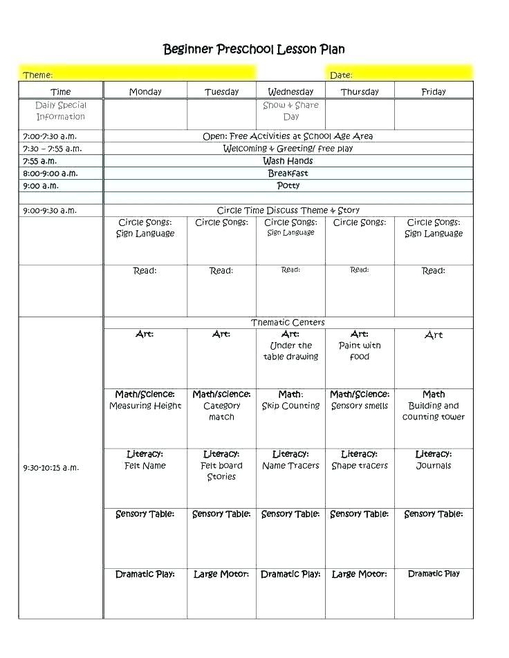 Full Day Preschool Schedule Template