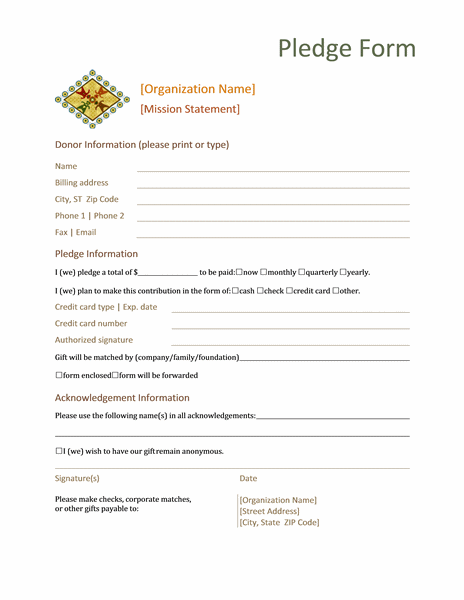 Fundraiser Pledge Form Template