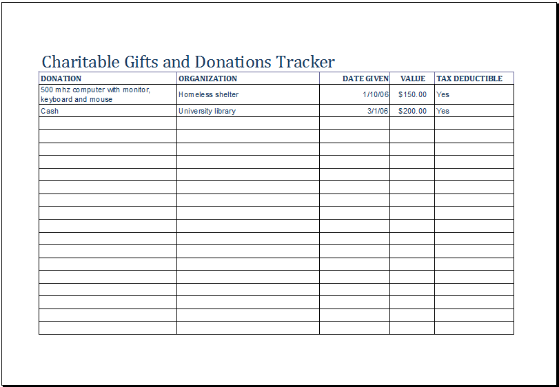 Fundraising Donation Tracker Template