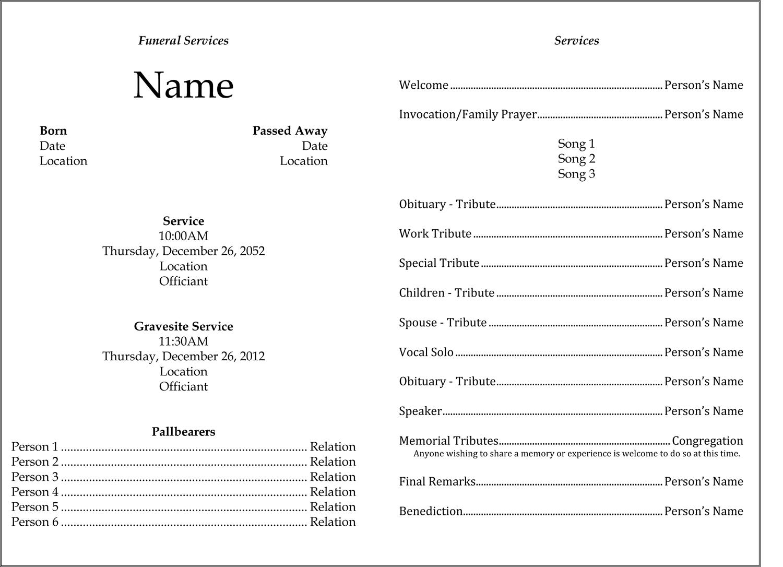 Funeral Bill Template
