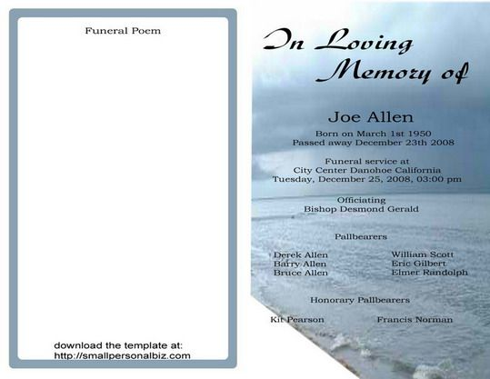 Funeral Program Sample Obituary Templates