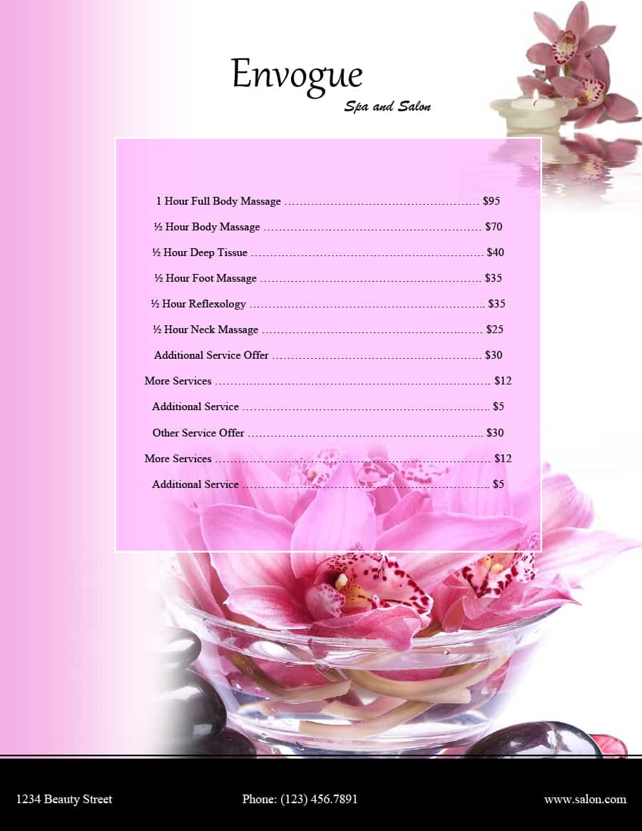 Hair Salon Price List Template Free